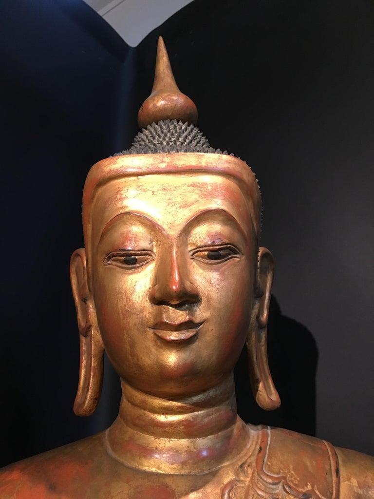 Life-Sized Shan Burmese Gilt Lacquer Papier Mâché Buddha, circa 1900 For Sale 3