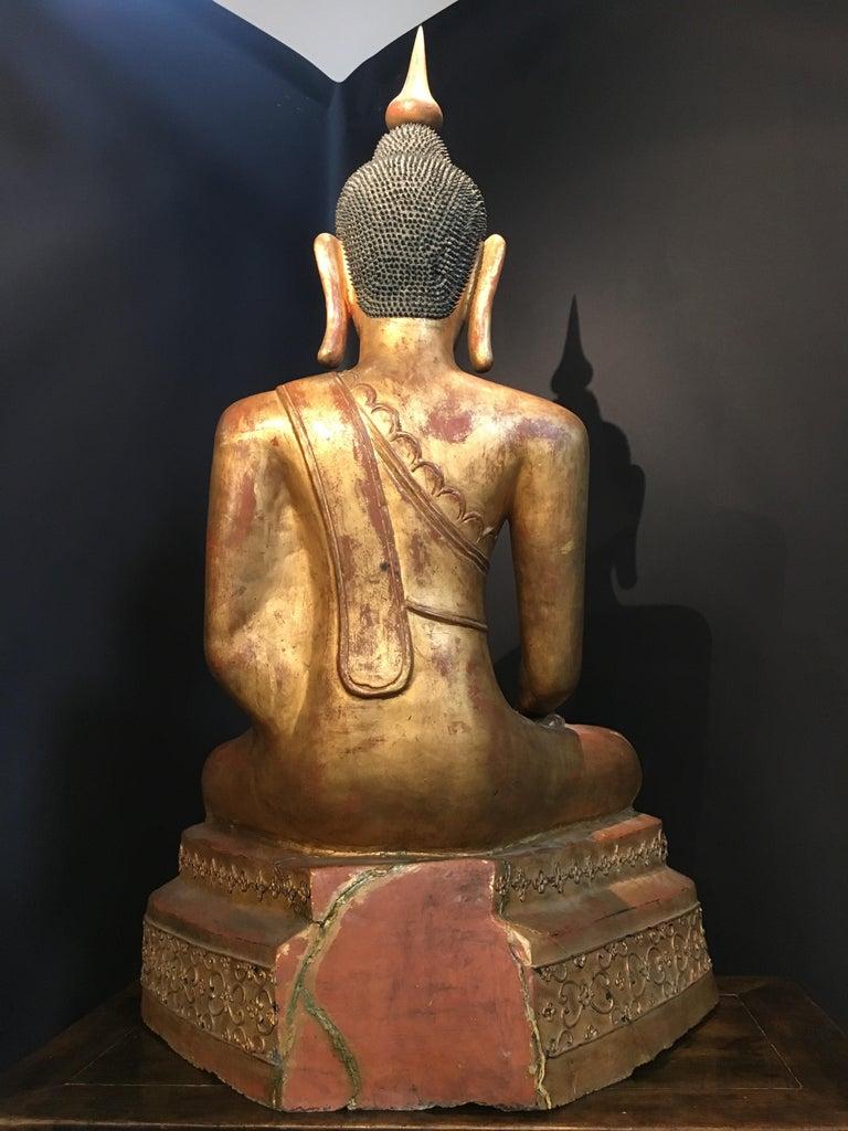 Early 20th Century Life-Sized Shan Burmese Gilt Lacquer Papier Mâché Buddha, circa 1900 For Sale