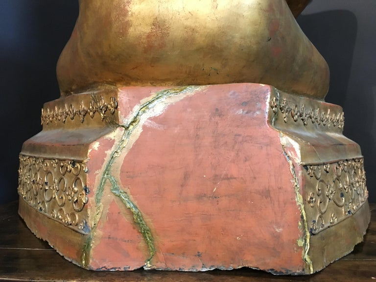 Life-Sized Shan Burmese Gilt Lacquer Papier Mâché Buddha, circa 1900 For Sale 13
