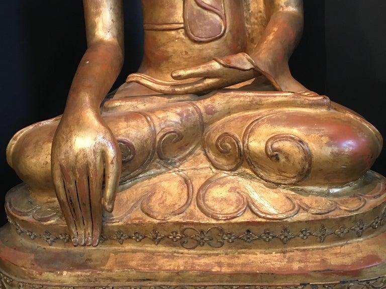 Life-Sized Shan Burmese Gilt Lacquer Papier Mâché Buddha, circa 1900 For Sale 8
