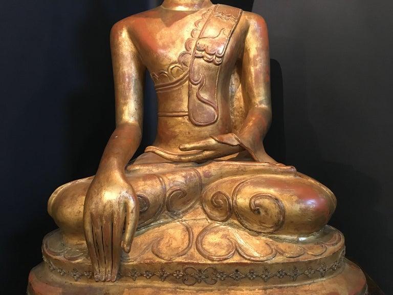Life-Sized Shan Burmese Gilt Lacquer Papier Mâché Buddha, circa 1900 For Sale 5