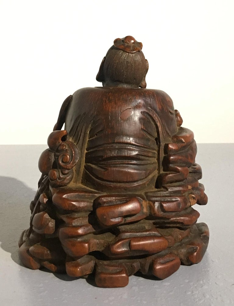 Chinese Carved Bamboo Figure of a Sage, Qing Dynasty, 18th Century In Good Condition For Sale In Austin, TX