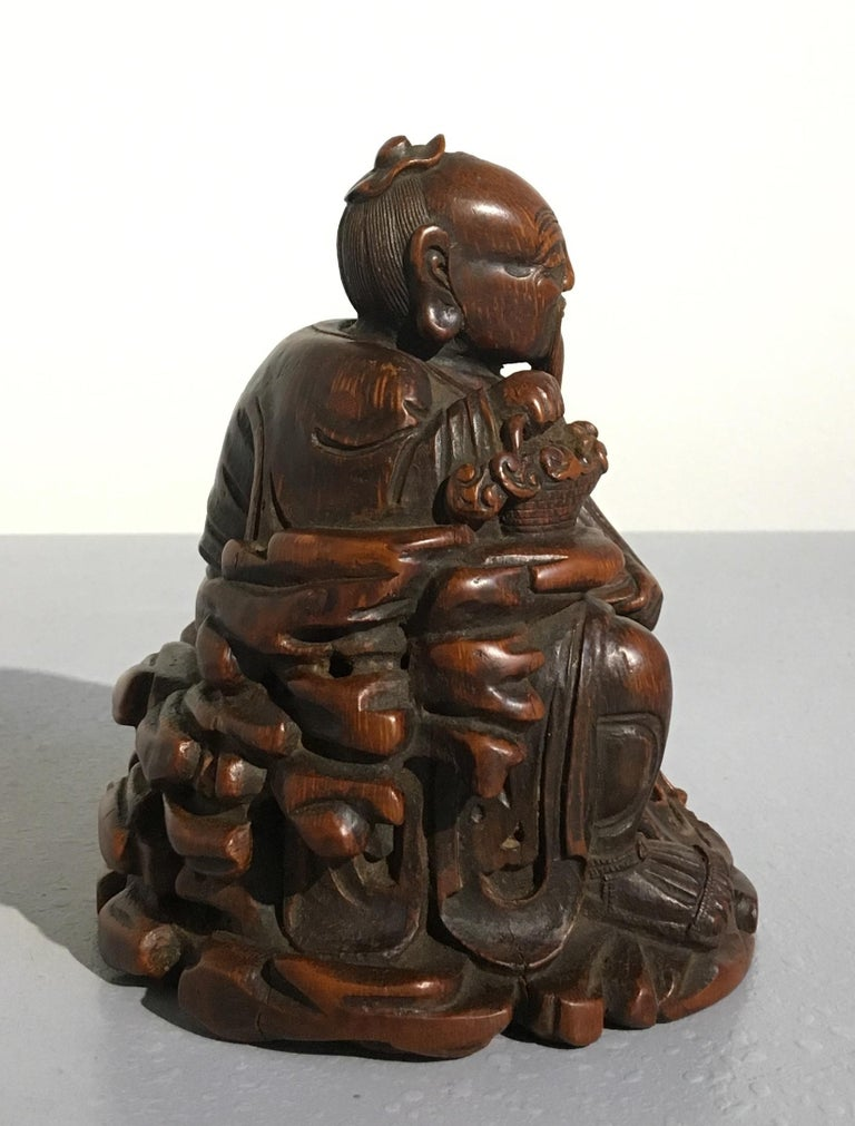 19th Century Chinese Carved Bamboo Figure of a Sage, Qing Dynasty, 18th Century For Sale