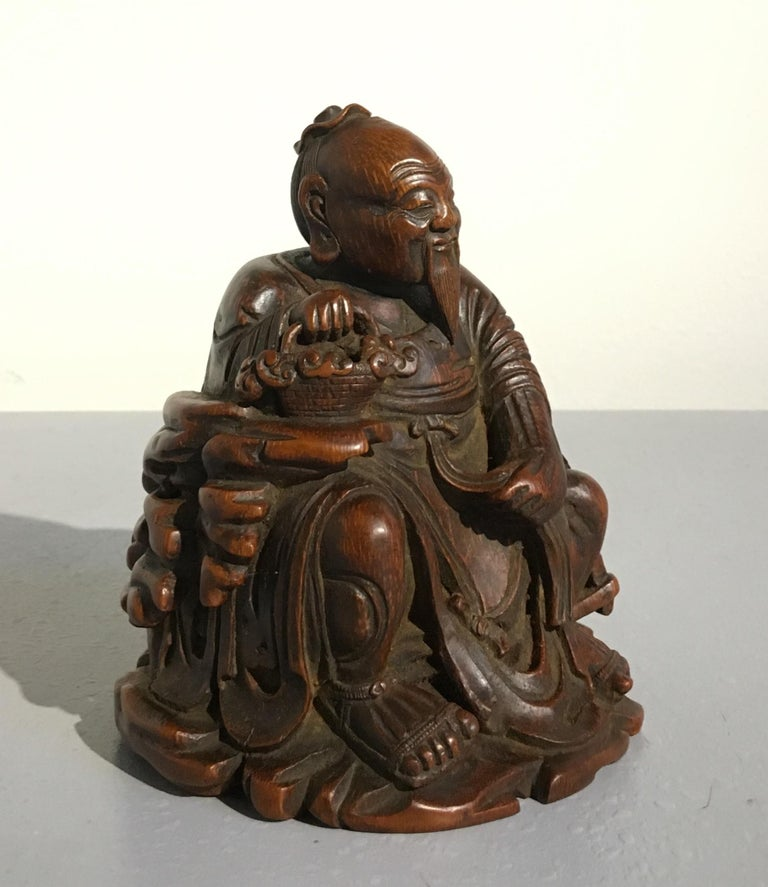 Chinese Carved Bamboo Figure of a Sage, Qing Dynasty, 18th Century For Sale 1