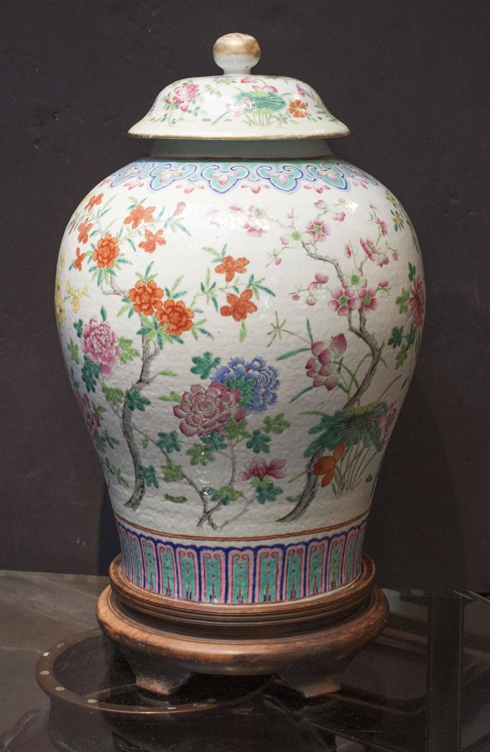 Massive Chinese Famille Rose Enameled Porcelain Baluster