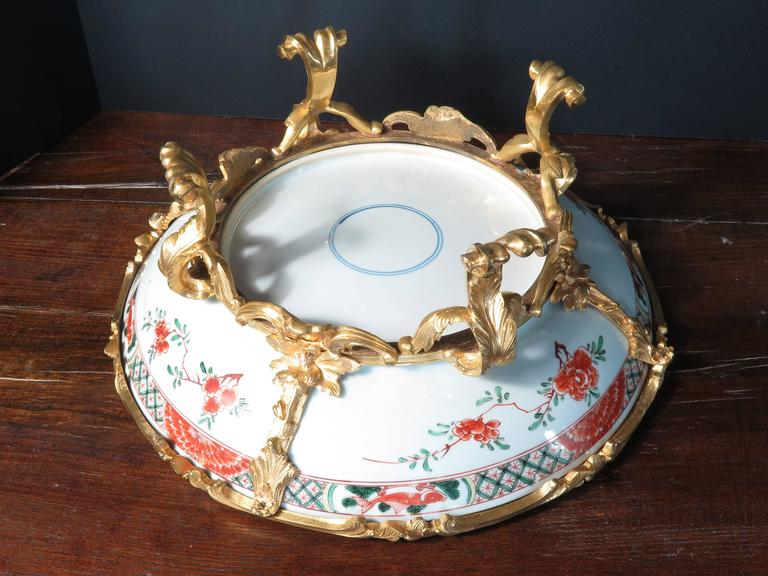 Chinoiserie French Ormolu Mounted Kangxi Period Famille Verte Porcelain Centerpiece For Sale