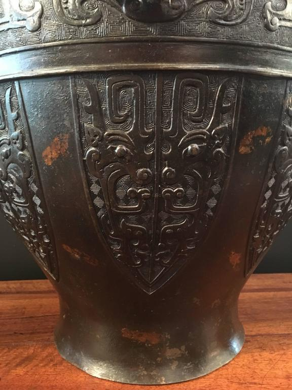 Cast Large Qing Dynasty Chinese Archaistic Gold Splashed Bronze Hu Vase For Sale