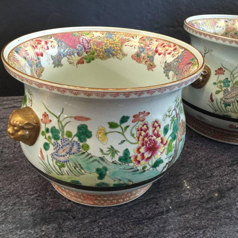 Enamel Pair of Chinese Famille Rose Cachepots For Sale