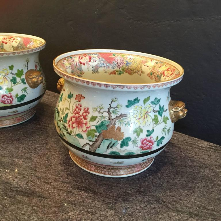 Pair of Chinese Famille Rose Cachepots For Sale 1