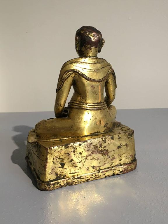 Tibetan Gilt Bronze Figure of an Arhat In Good Condition For Sale In Austin, TX