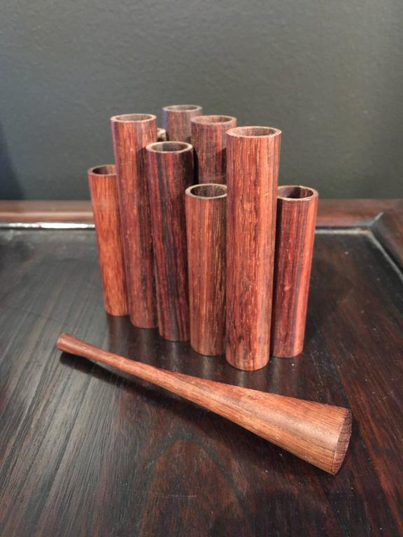 Turned Mid-Century Walnut Pencil or Pen Holder by Sergio Dello Strologo for Xilarte For Sale