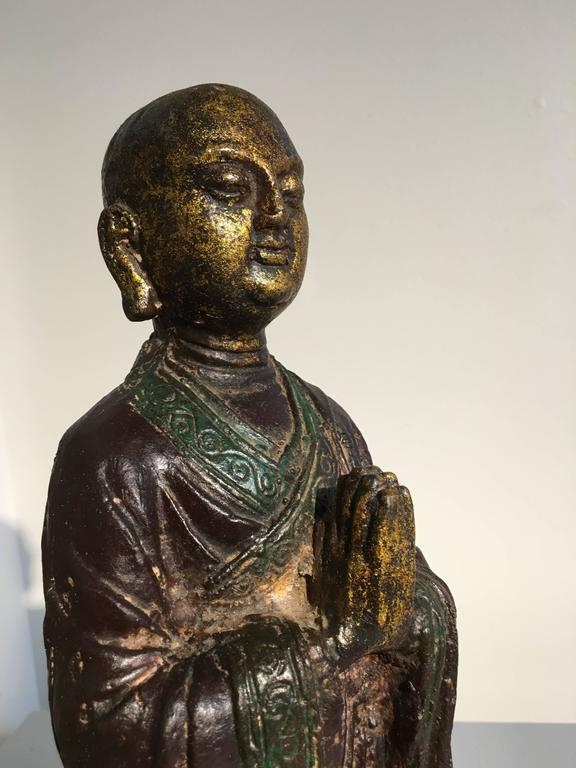 18th Century and Earlier Ming Dynasty Polychrome Lacquer and Gilt Iron Figure of Ananda For Sale
