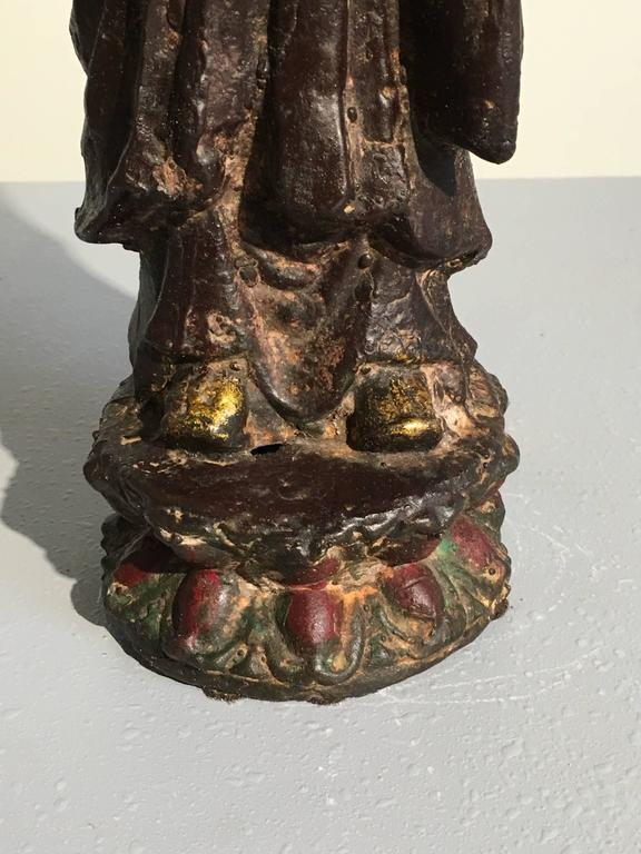 Ming Dynasty Polychrome Lacquer and Gilt Iron Figure of Ananda For Sale 3