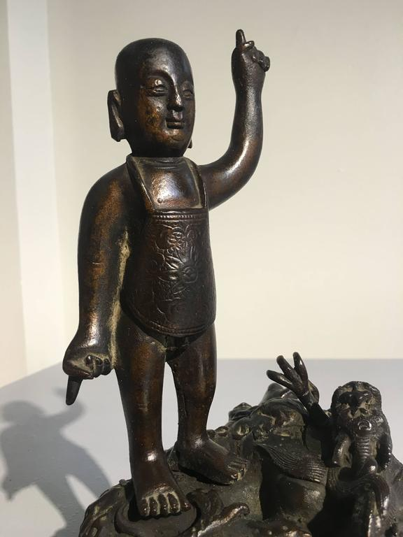 Ming Dynasty Bronze Figure of the Infant Buddha For Sale 1