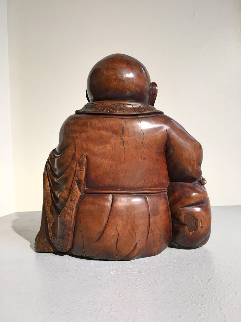 Chinese Qing Dynasty Carved Hardwood Figure of Budai In Good Condition For Sale In Austin, TX