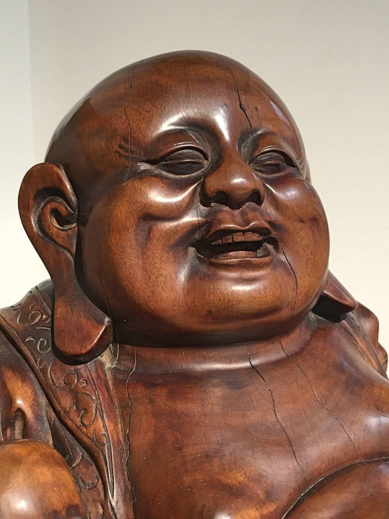 Chinese Qing Dynasty Carved Hardwood Figure of Budai For Sale 1