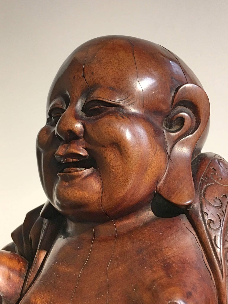 Chinese Qing Dynasty Carved Hardwood Figure of Budai For Sale 2