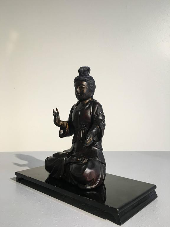 Lapis Lazuli Chinese Carved Zitan Figure of a Bodhisattva, Qing Dynasty For Sale