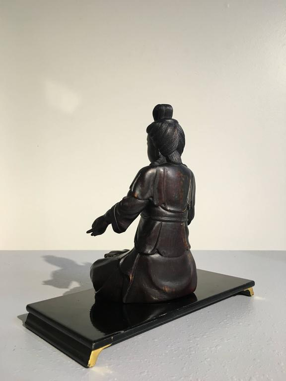 20th Century Chinese Carved Zitan Figure of a Bodhisattva, Qing Dynasty For Sale