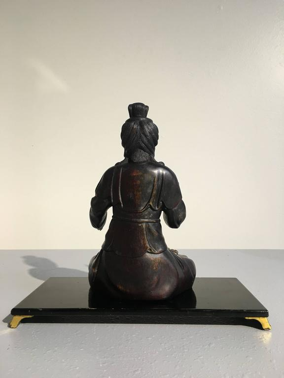 Chinese Carved Zitan Figure of a Bodhisattva, Qing Dynasty In Good Condition For Sale In Austin, TX