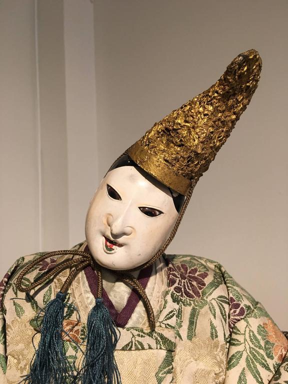 19th Century Pair of Japanese Edo Period Musha Ningyo Courtier Dolls For Sale