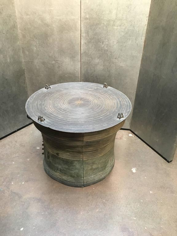 Awesome Tribal Burmese Shan Bronze Rain Drum Side Table For Sale Design Inspirations