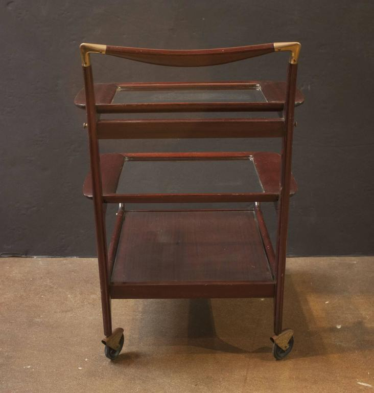 Sleek and Sexy Italian Mod Rosewood Bar Cart by Cesare Lacca In Good Condition For Sale In Austin, TX