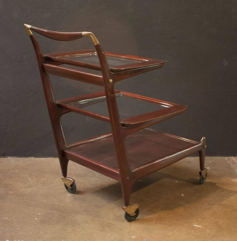 Mid-20th Century Sleek and Sexy Italian Mod Rosewood Bar Cart by Cesare Lacca For Sale