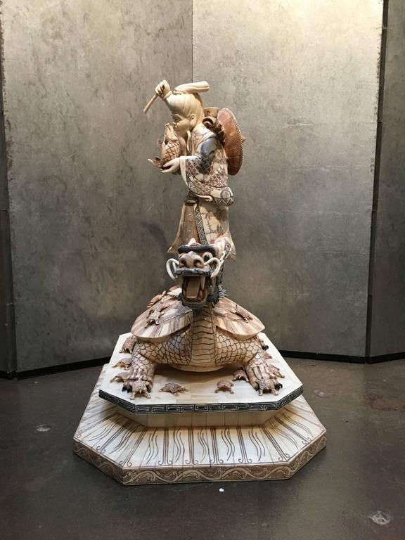 Large japanese bone veneer sculpture of ebisu on a turtle