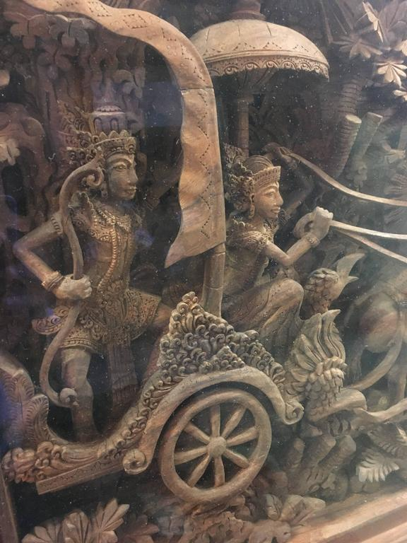 Massive bali ramayana wood carving at stdibs