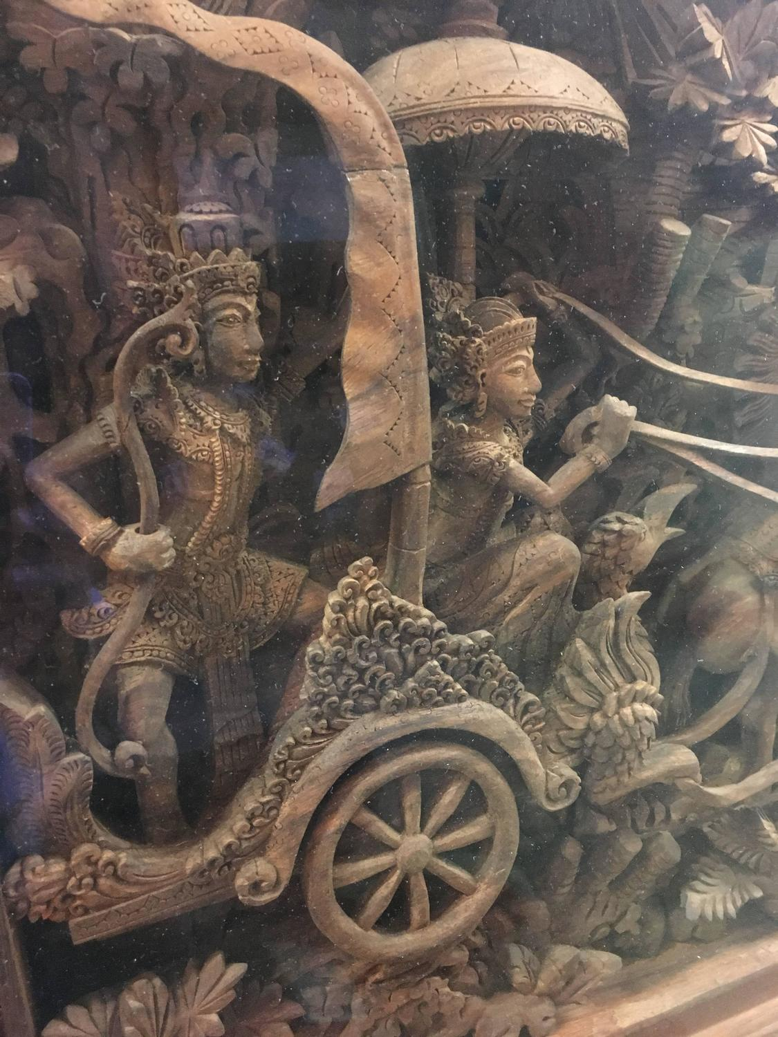 massive bali ramayana wood carving at 1stdibs