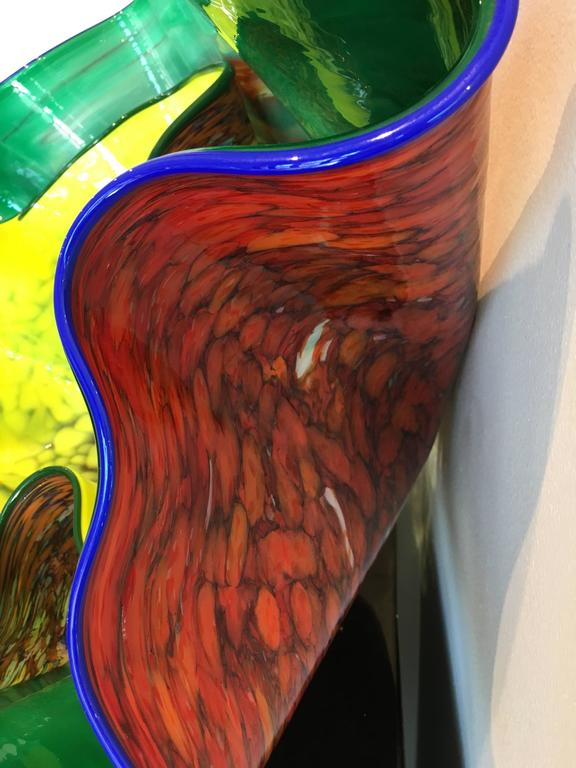 American Emerald and Linden Yellow Macchia Pair by Dale Chihuly