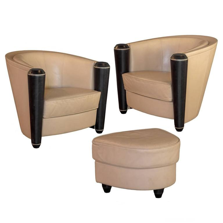 Adam Tihani Pace Collection Pair Of Leather Club Chairs And Ottoman For Sale