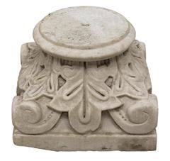 19th Century Italian Carved Marble Column Capital