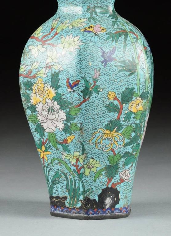 Pair Of Qing Dynasty Chinese Turquoise Color Cloisonn 233