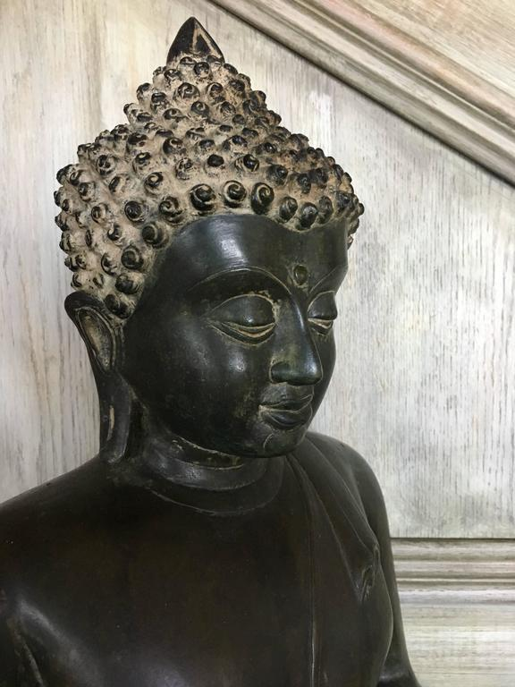 Large Burmese Bronze Medicine Buddha, Pagan Style, Late 19th Century For Sale 3