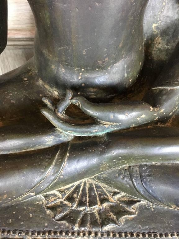 Large Burmese Bronze Medicine Buddha, Pagan Style, Late 19th Century For Sale 5