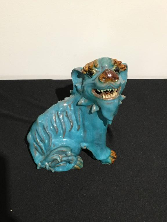 Stoneware Pair of Chinese Turquoise Glazed Shiwan Pottery Foo Dogs For Sale