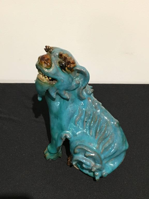 Pair of Chinese Turquoise Glazed Shiwan Pottery Foo Dogs For Sale 1