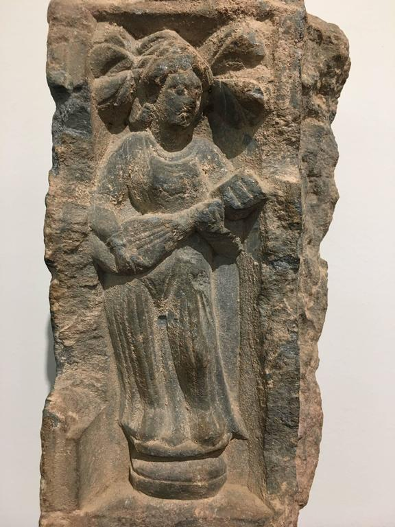 Pakistani Gandharan Carved Stone Relief Fragment of a Female Musician For Sale