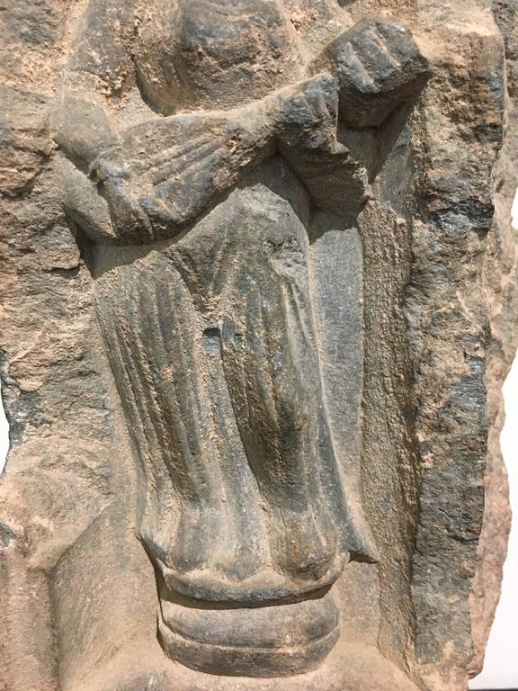 Gandharan Carved Stone Relief Fragment of a Female Musician In Good Condition For Sale In Austin, TX