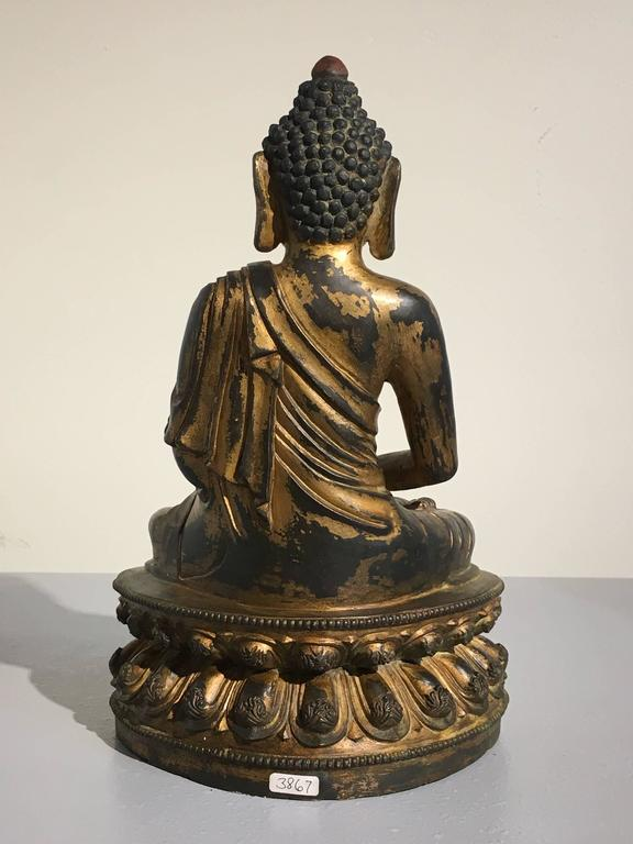 Cast Chinese Gilt Bronze Amitabha Buddha, 20th Century For Sale