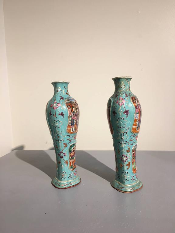 Hand-Painted Pair of 18th Century Chinese Export Mandarin Turquoise Vases For Sale