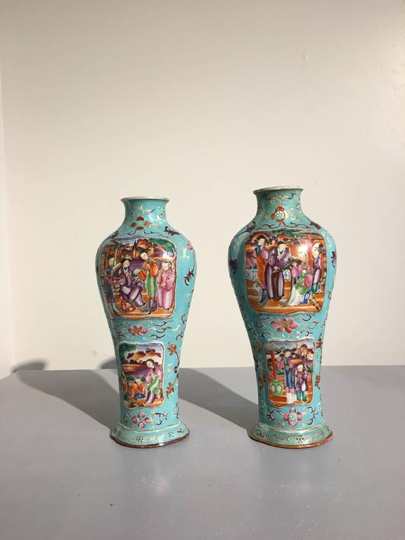 A fine pair of Chinese export quatrefoil vases decorated in the Mandarin palette upon an attractive turquoise