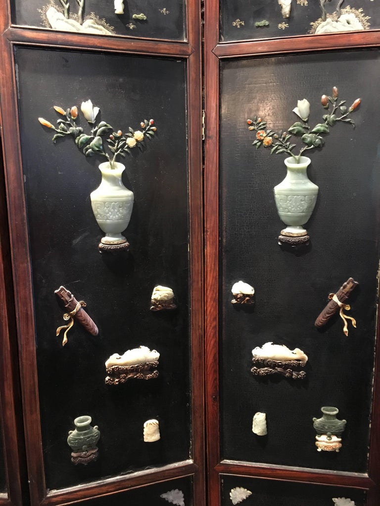 Hand-Carved Early 19th Century Chinese Hardwood, Lacquer and Jade Six-Panel Screen For Sale