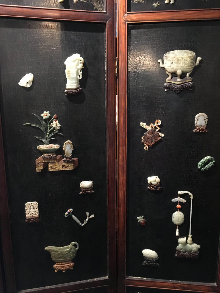 Early 19th Century Chinese Hardwood, Lacquer and Jade Six-Panel Screen In Good Condition For Sale In Austin, TX