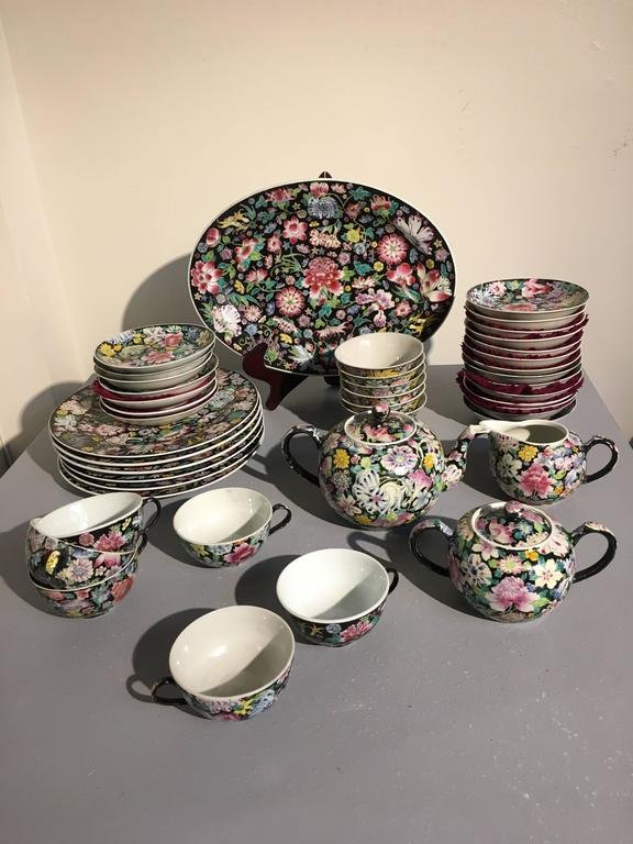 Qing Chinese Famille Noir Mille Fleur Assembled Service For Sale