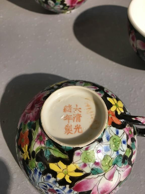 20th Century Chinese Famille Noir Mille Fleur Assembled Service For Sale