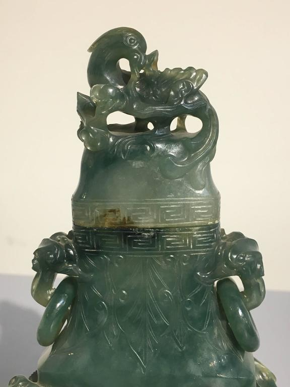 Chinese Carved Jadeite Vase And Cover Qing Dynasty Ex Ct Loo
