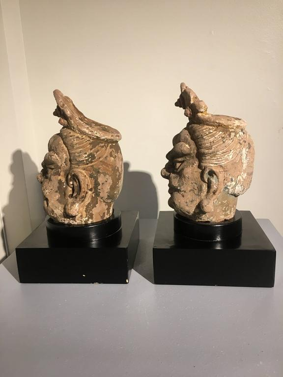 18th Century and Earlier Pair of Chinese Ming Dynasty Stucco Guardian Heads For Sale